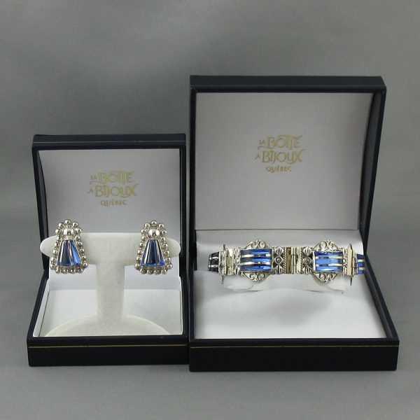 Bracelet et B.O. avec verres bleus, B6299-1