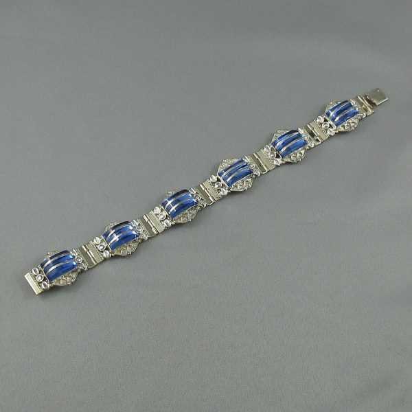 Bracelet et B.O. avec verres bleus, B6299-2