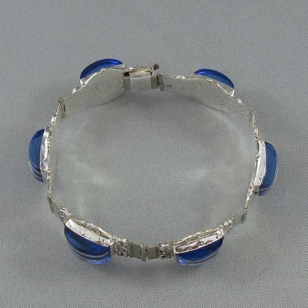 Bracelet et B.O. avec verres bleus, B6299-3