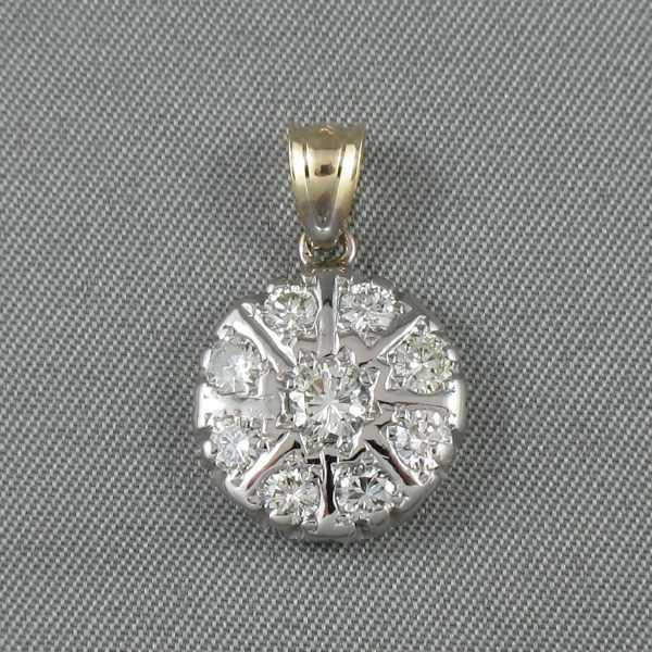 Pendentif diamants, 10K blanc et 14K jaune, B6307-1