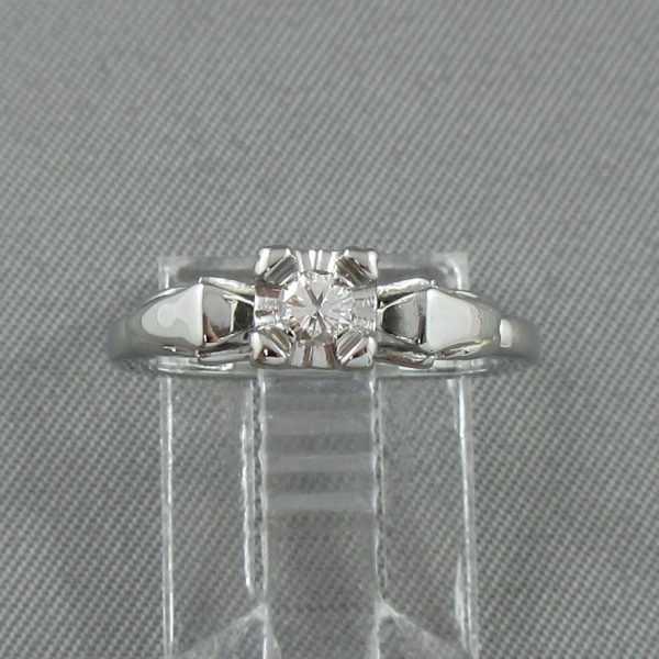 Bague un diamant, 18K blanc, B6348-1
