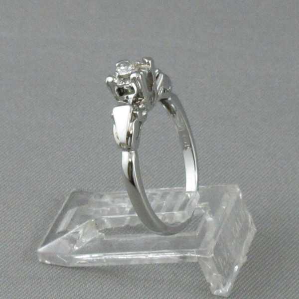 Bague un diamant, 18K blanc, B6348-2