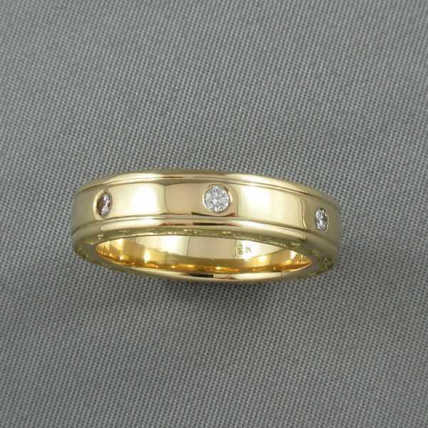 Jonc, 7 diamants, 18K jaune, B6314-1