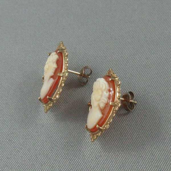 Boucles d'oreilles camée coquillage, 10K jaune, B6428-2