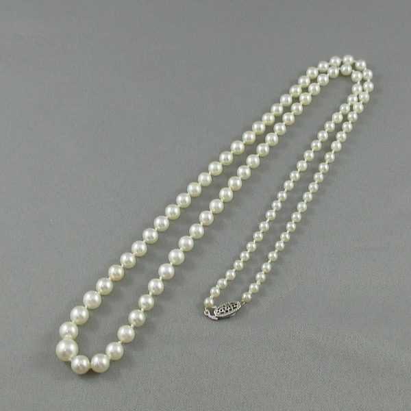 Collier Perles Akoya, 10K blanc, B2740-1