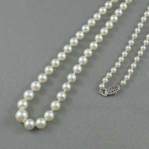Collier Perles Akoya, 10K blanc, B2740-2