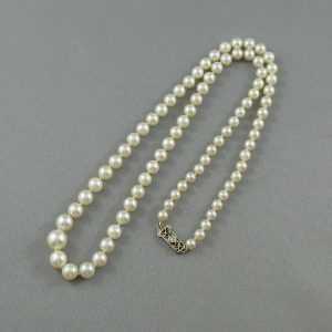 Collier Perles Akoya et diamant, 14K blanc, B4582-2