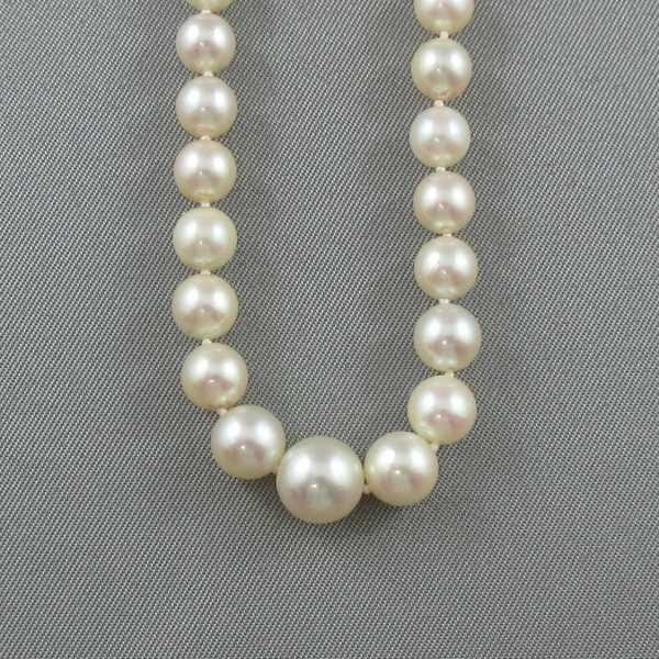 Collier Perles Akoya et diamant, 14K blanc, B4582-3
