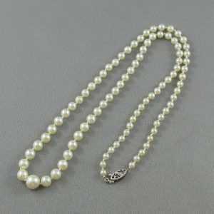 Collier Perles Akoya, 10K blanc, B5614-2