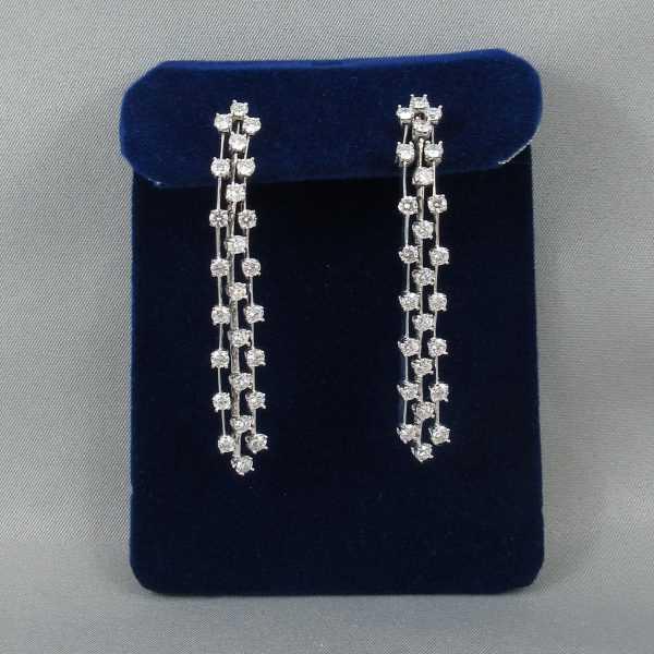 Pendants d'oreilles 50 diamants, 14K blanc et 18K blanc, B6436-1