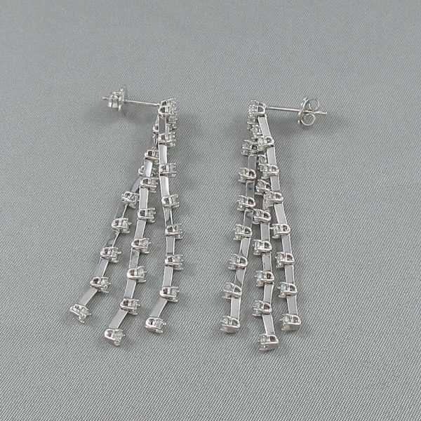 Pendants d'oreilles 50 diamants, 14K blanc et 18K blanc, B6436-2