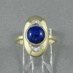 Bague Lapis-Lazuli et diamants, 18K jaune, B6498-1