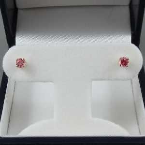Boucles d'oreilles 2 saphirs rose, 14K jaune, B6522-1