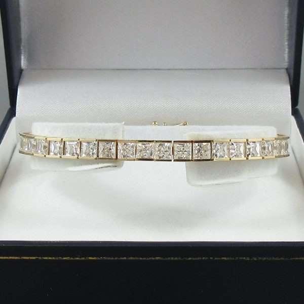 Bracelet, 42 Zircons cubiques, 14K jaune, B6543-1