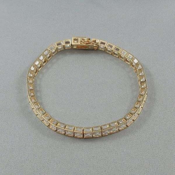 Bracelet, 42 Zircons cubiques, 14K jaune, B6543-2