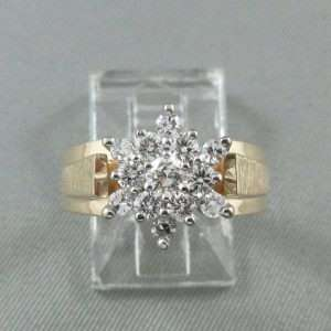 Bague, 13 diamants, 14K jaune et 18K blanc, B6552-1