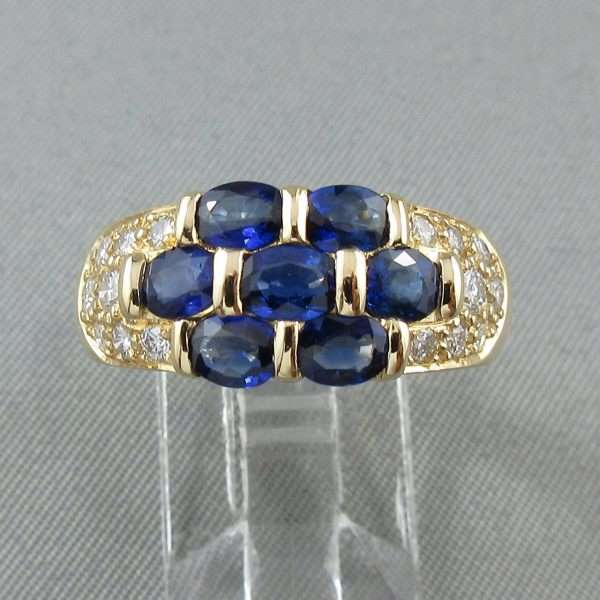 Bague Saphirs bleus et diamants, 18K jaune, BIRKS, B6553-1