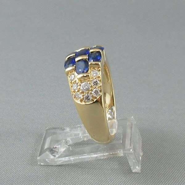 Bague Saphirs bleus et diamants, 18K jaune, BIRKS, B6553-3