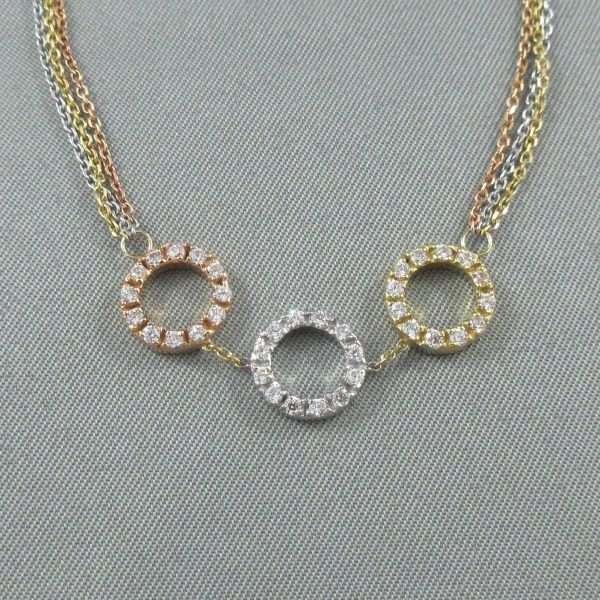 Bracelet, zircons cubiques, 18K, 3 tons. B6557-1