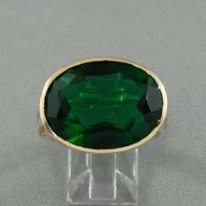 Bague verre vert, 10K jaune, B6309-1