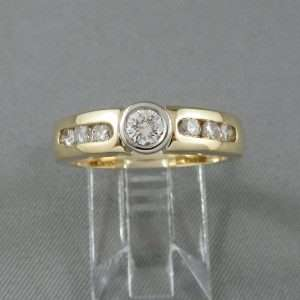Bague 7 diamants, 18K, B6571-1