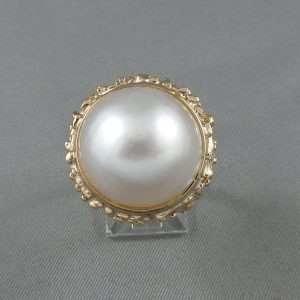 Bague perle Mabé, 18K rose, B6578-1
