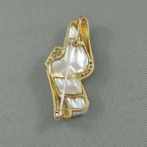 Broche/Pendentif perle d'eau douce et diamants, 18K, B6610-3