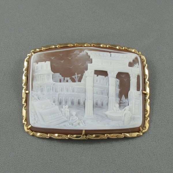Broche/Pendentif, camée coquillage, G.APA, 14K jaune, B6625-1