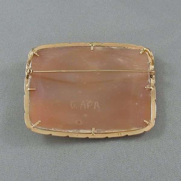 Broche/Pendentif, camée coquillage, G.APA, 14K jaune, B6625-2