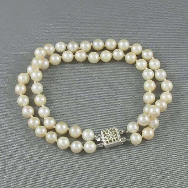 Bracelet 2 rangs, perles Akoya, B6626-2