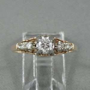Bague 5 diamants, 14K, B6637-1