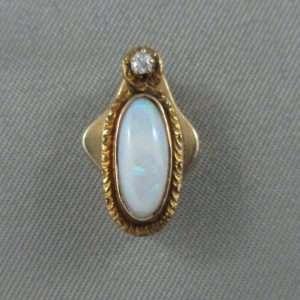Pendentif Opale et diamant, 14K jaune, B3151-1