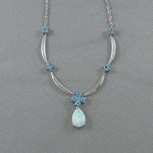 Collier Opale synthétique, Topazes bleues et diamant, 10K blanc, B6109-1
