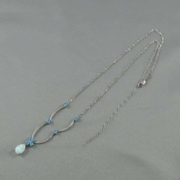Collier Opale synthétique, Topazes bleues et diamant, 10K blanc, B6109-3
