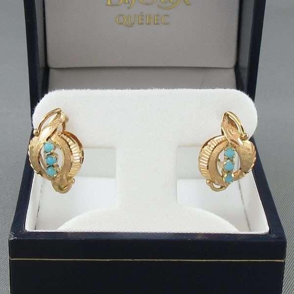 Boucles d'oreilles Turquoises d'imitation, 18K jaune, B6648-1