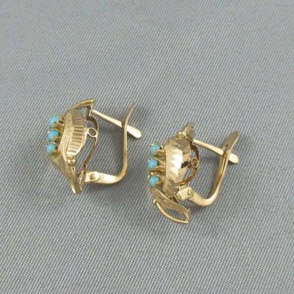Boucles d'oreilles Turquoises d'imitation, 18K jaune, B6648-2