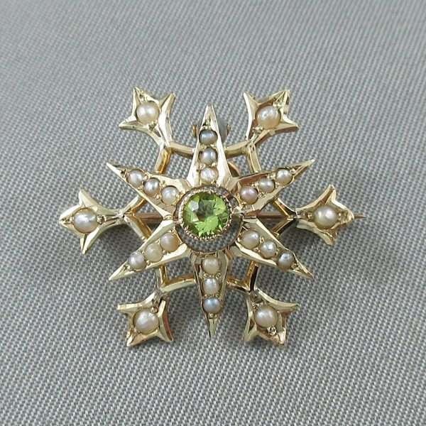 Broche/pendentif, perles fines et verre vert, 10K jaune, B6679-1
