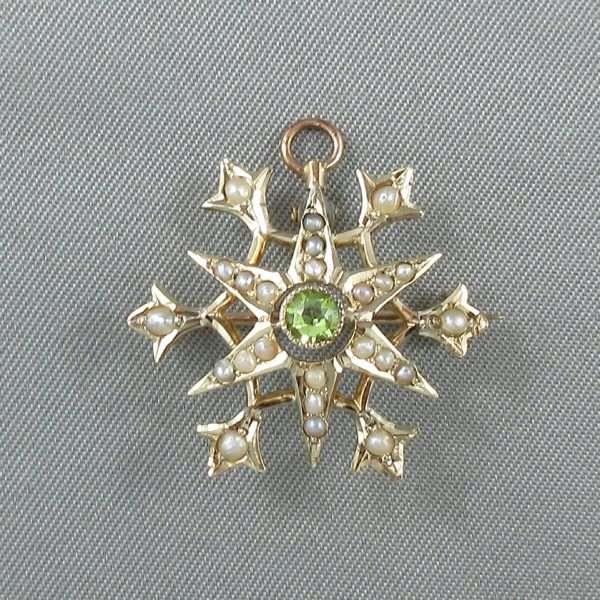 Broche/pendentif, perles fines et verre vert, 10K jaune, B6679-2