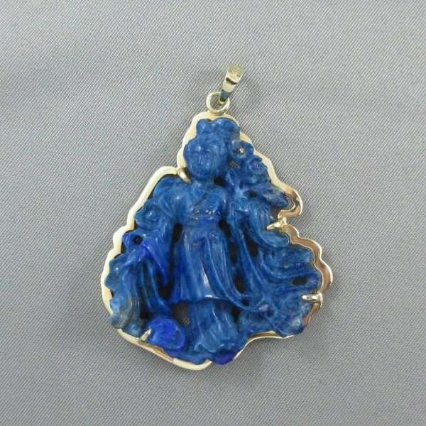 Pendentif Lapis-Lazuli, 14K jaune, C3134-1