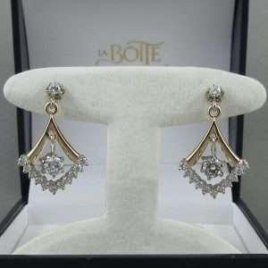 Pendants d'oreilles 26 diamants, 14K, C3137-1