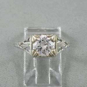 Bague un diamant, platine, B3477B-1