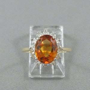 Bague Citrine et diamants, 14K, B6692-1