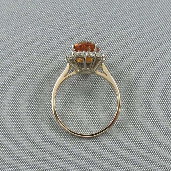 Bague Citrine et diamants, 14K, B6692-3