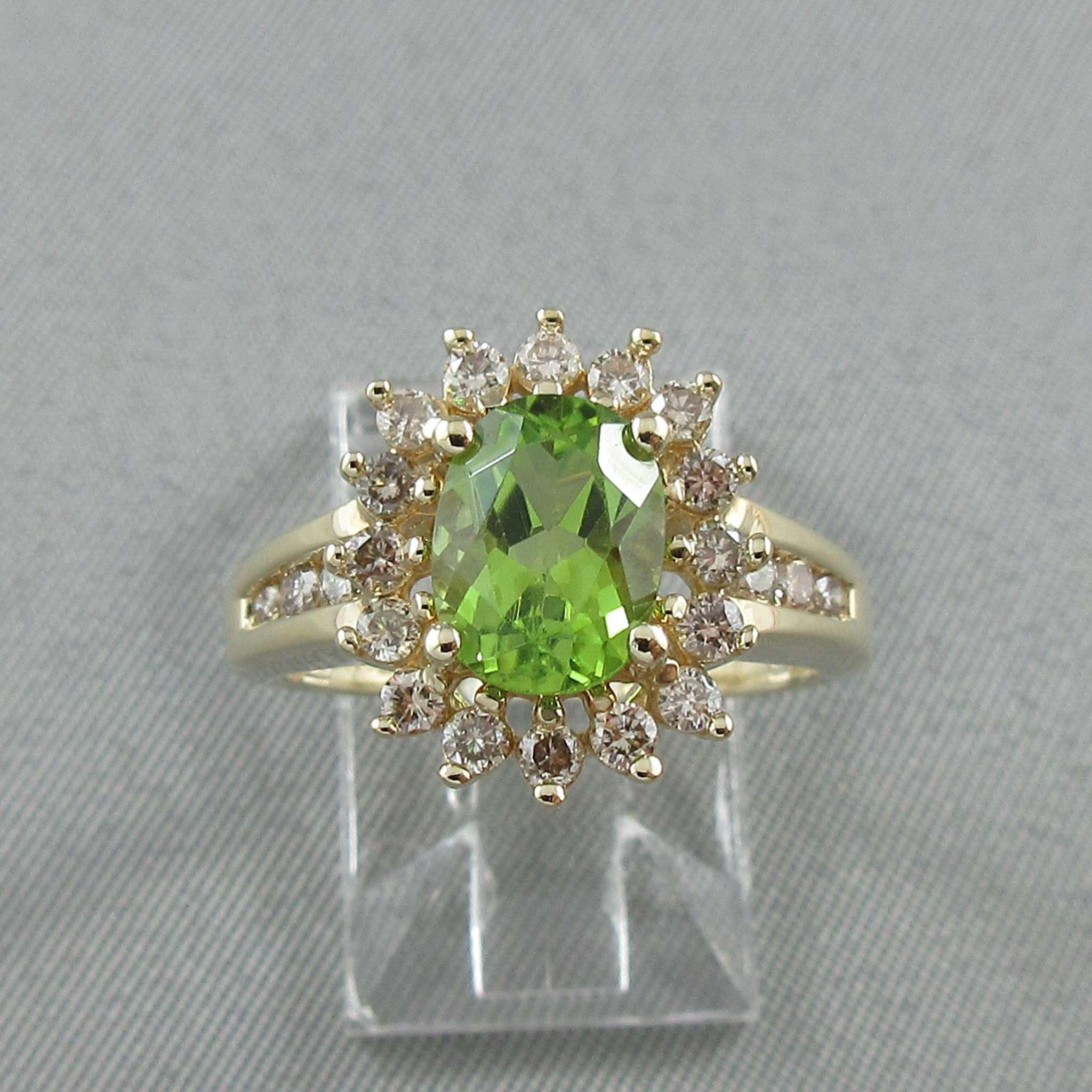 Peridot and diamonds, 14K yellow gold ring