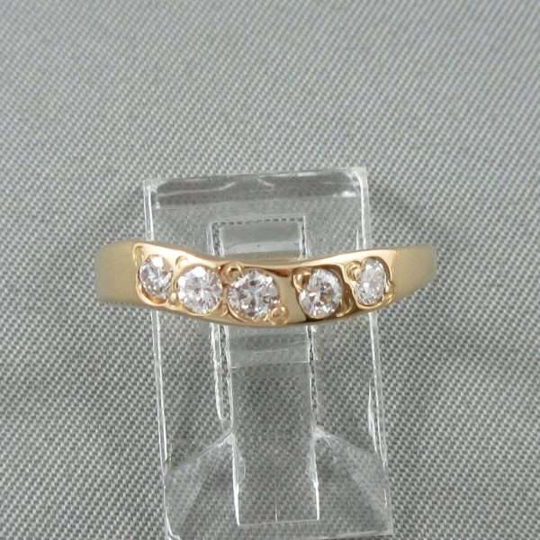 Jonc 5 diamants, 18K jaune, B6698-1
