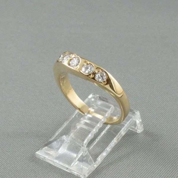 Jonc 5 diamants, 18K jaune, B6698-2