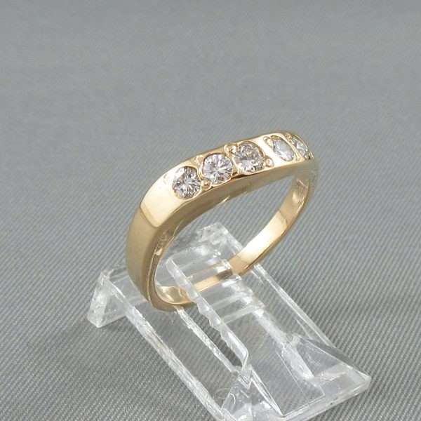 Jonc 5 diamants, 18K jaune, B6698-3