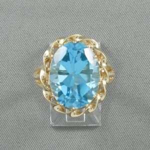 Bague Topaze bleue, 10K jaune, B6704-1