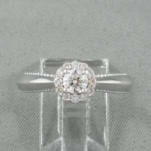 Bague 15 diamants, 18K blanc, B6731-1