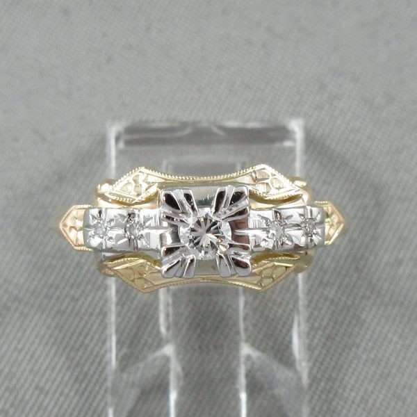 Bague 5 diamants, 14K jaune et 18K blanc, B6732-1
